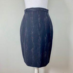 Escada 100% Wool Pencil Skirt Navy silver stripe